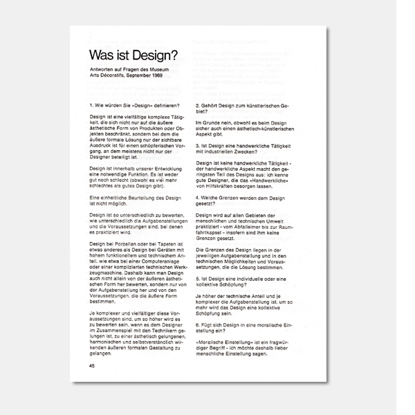 Fritz Eichler: What is design? Answers to questions from the Museum Arts Decoratifs, September 1969