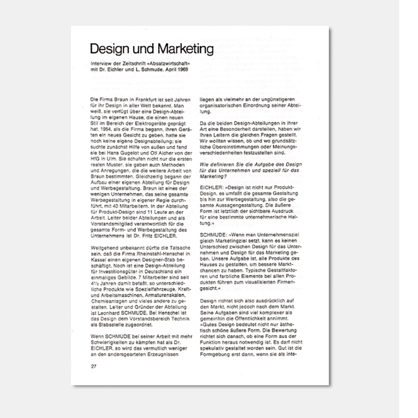 Elisabeth Hirsch: Design and marketing Interview with Fritz Eichler